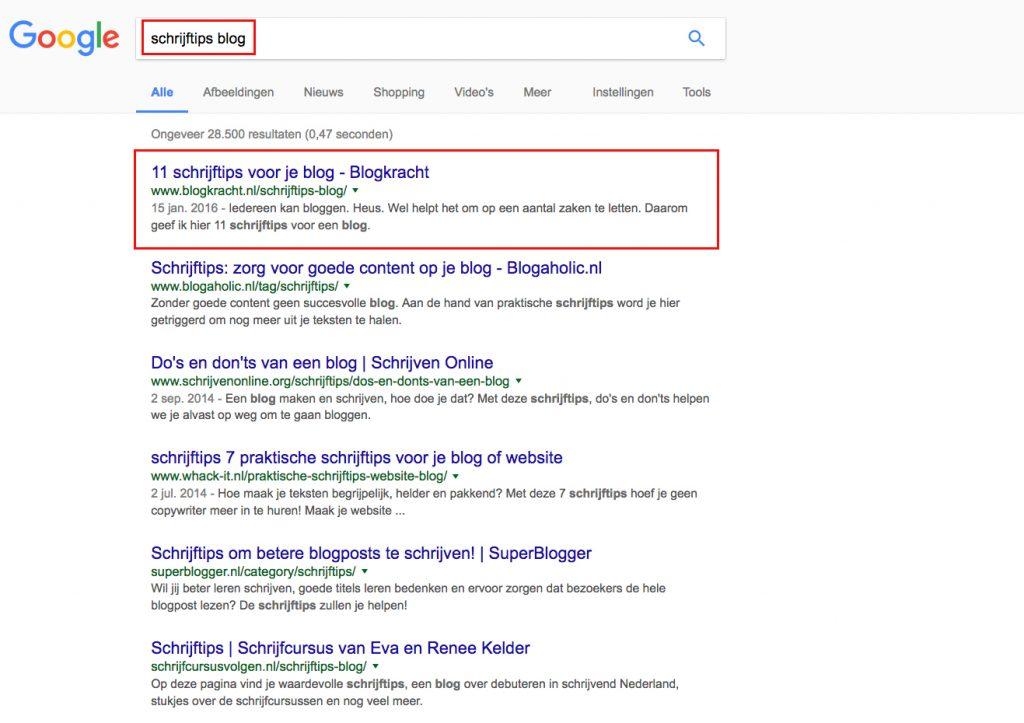 vindbaar in google met je blog (voorbeeld)