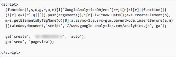 voorbeeld code Google Analytics
