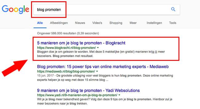 voorbeeld blog promoten via google