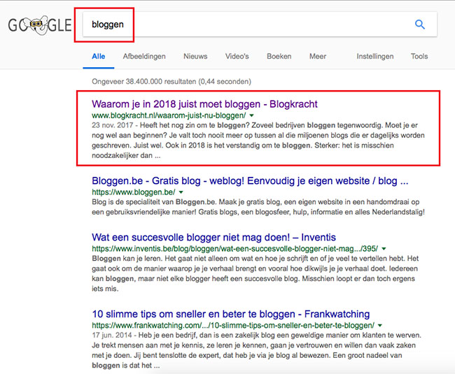bovenaan in google met bloggen