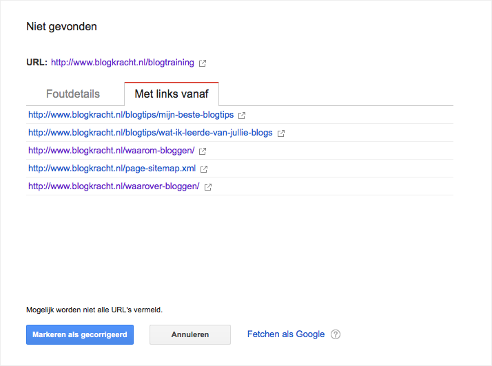 broken links search console voorbeeld