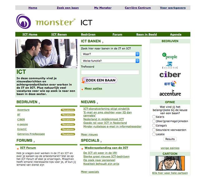 Screenshot van de ICT Community uit 2005