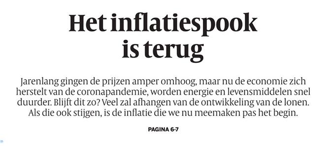Volkskrant waarschuwt voor inflatie. Ik zeg: kennis is een goed wapen ertegen.