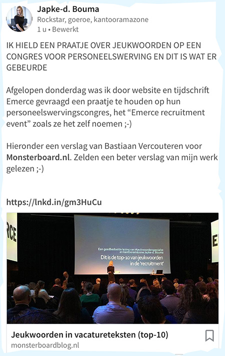 event bloggen reactie