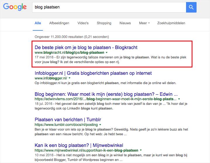 Waarom bloggen? Omdat je op nummer 1 kunt komen van Google!