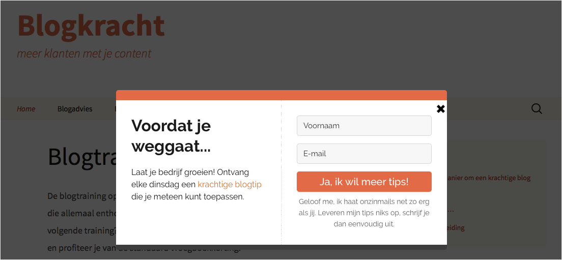 pop-up met exit-intent