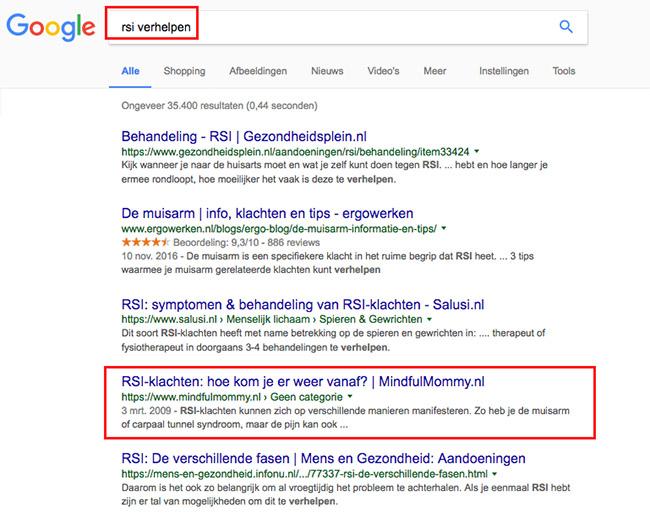 voorbeeld synoniemen in Google