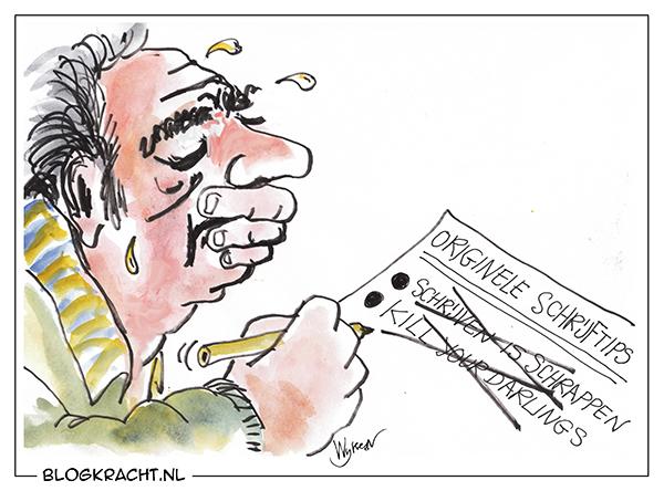 Schrijftips blog cartoon (schrijven is schrappen)