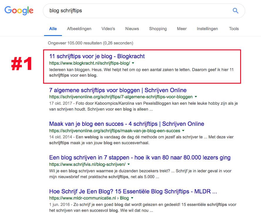 bovenaan in google bloggen