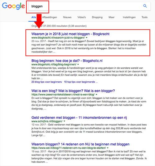 zakelijk bloggen vergroot kans in Google (voorbeeld)