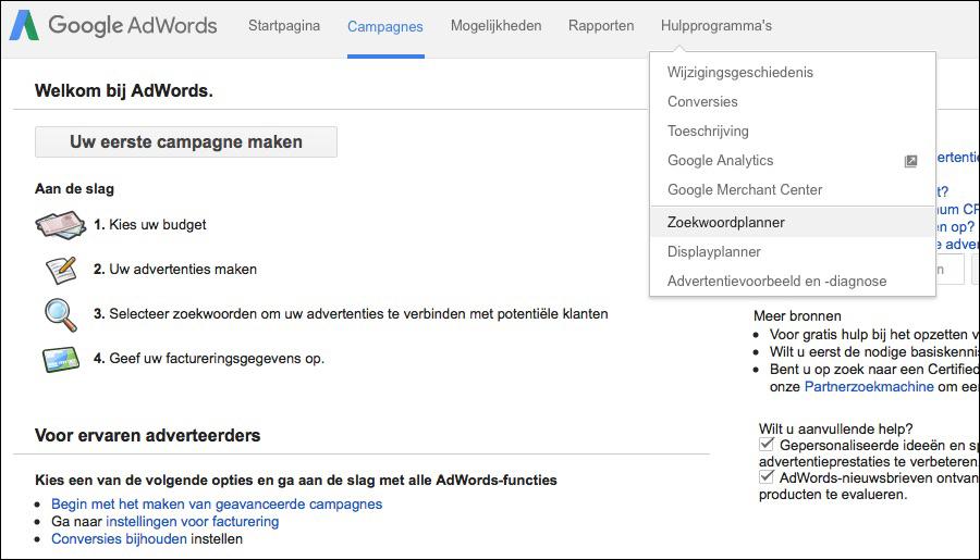 zoekwoordplanner-zoekwoorden